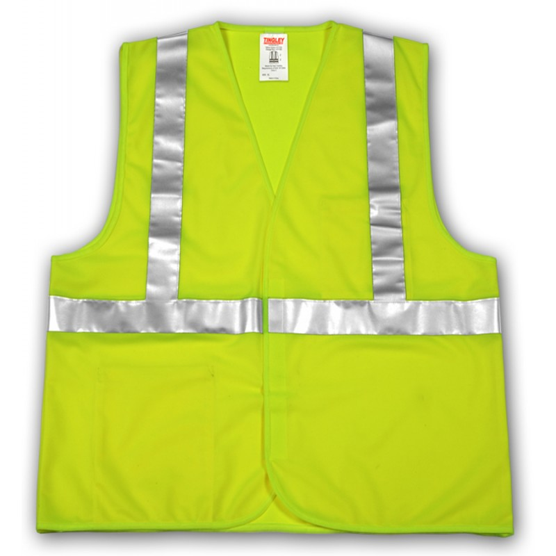 Tingley V71622.4X-5X Class 2 Vest Fluorescent Yellow-Green Polyester Solid  Hook & Loop
