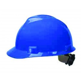 MSA Hard Hat V-Gard Slotted Cap, Blue, Fas-Trac III Suspension (1 EA)