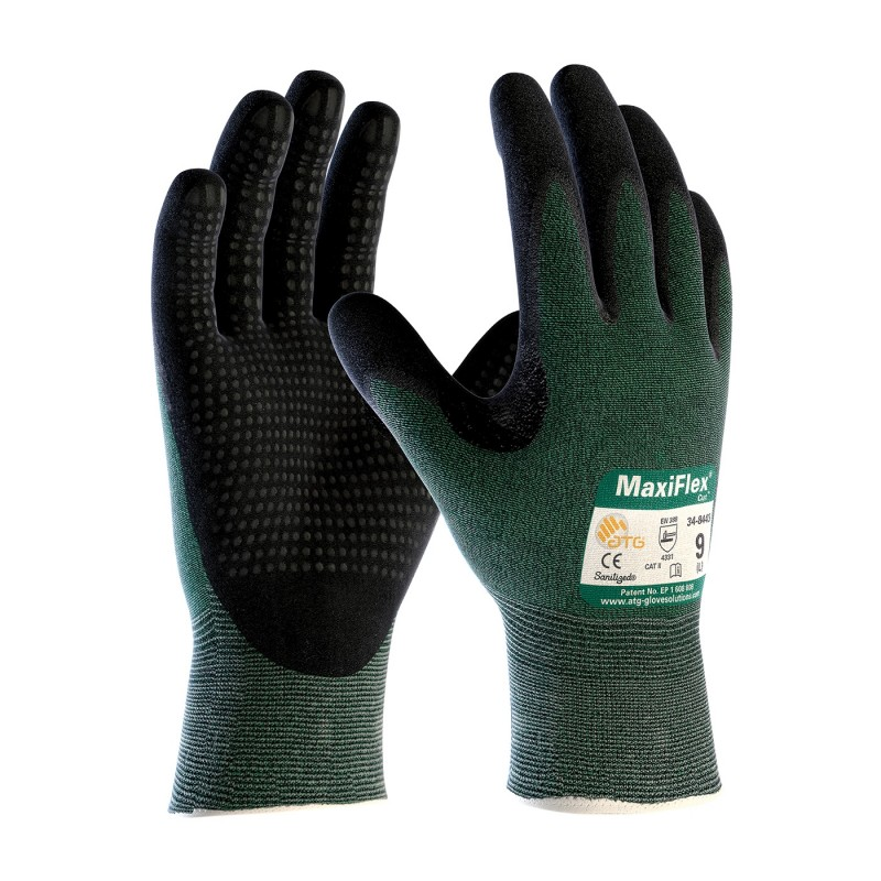 PIP 34-8443/L ATG Seamless Knit Engineered Yarn Glove with Premium Nitrile Coated MicroFoam Grip on Palm & Fingers Micro Dot Palm Large 6 DZ