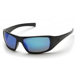 Pyramex  Goliath  Black Frame/Ice Blue Mirror Lens  Safety Glasses  12/BX