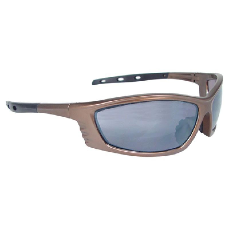 Radians Chaos Safety Glasses - Mocha Frame, Silver Mirror Lens