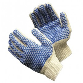 PVC Blue Brick Pattern 2-Sd Glove- Lrg