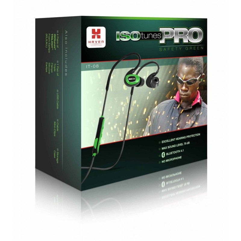ISOtunes PRO™ IT-08 Bluetooth Noise-Isolating Earbuds Safety Green Volume Limited