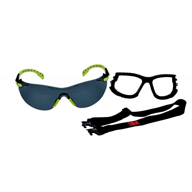 3M™ Solus, 1000-Series, S1202SGAF-KT, Foam, Strap, Green/Black, Grey Scotchgard™ Anti-fog lens, 20ea/cs