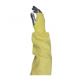 """PIP 10-K4722 Kut Gard Single Ply Kevlar® / Cotton Blended Sleeve with Blue/Gold Elastic End and Thumb Hole 22"""" 144 EA"""