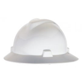 MSA White V Gard Polyethylene Slotted Full Brim Hard Hat  Fas Trac Ratchet Suspension (1 EA)