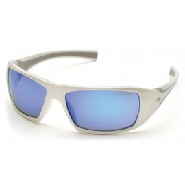 Pyramex  Goliath  White Frame/Ice Blue Mirror Lens  Safety Glasses  12/BX