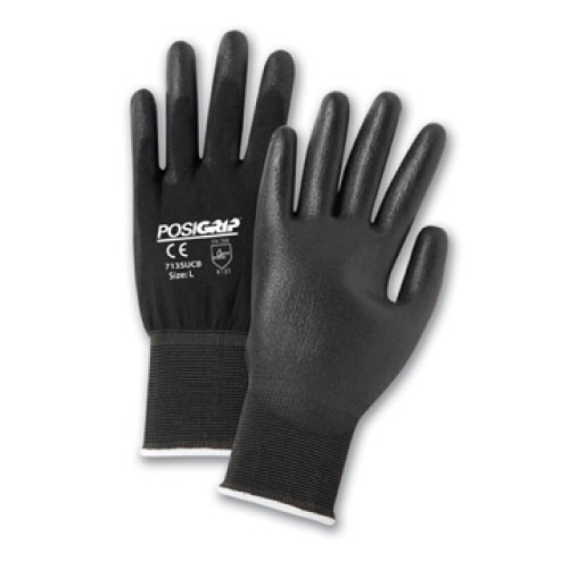 West Chester 713SUCB PosiGrip PU Palm Coated Black Nylon Work Gloves 12 Pairs