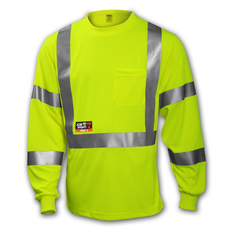 Tingley S85522.3X Class 3 FR T-Shirt Fluorescent Yellow-Green Long Sleeve