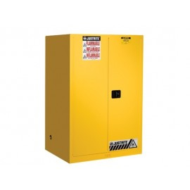 Justrite SURE-GRIP EX FLAMMABLE SAFETY CABINET, 90 GALLON, 2 SELF-CLOSE DOORS, YELLOW