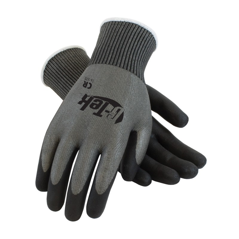 G-Tek CR Seamless Knit HPPE / Glass Glove with Polyurethane Coated Smooth Grip on Palm & Fingers