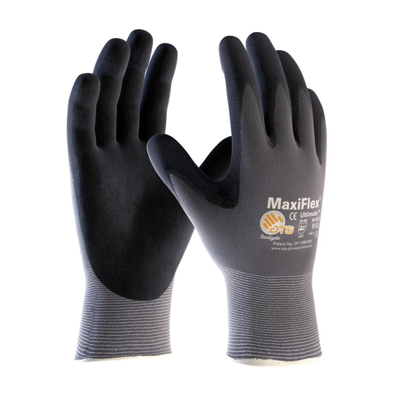 PIP 34-874 MaxiFlex Ultimate Seamless Knit Nylon Lycra Glove With Nitrile Coated Micro-Foam Grip On Palm & Fingers - Enviro Safety Products - envirosafetyproducts.com