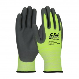 PIP 16-323/XS G-Tek Hi Vis Seamless Knit PolyKor Blended Glove with Nitrile Coated Foam Grip on Palm & Fingers XS 6 DZ