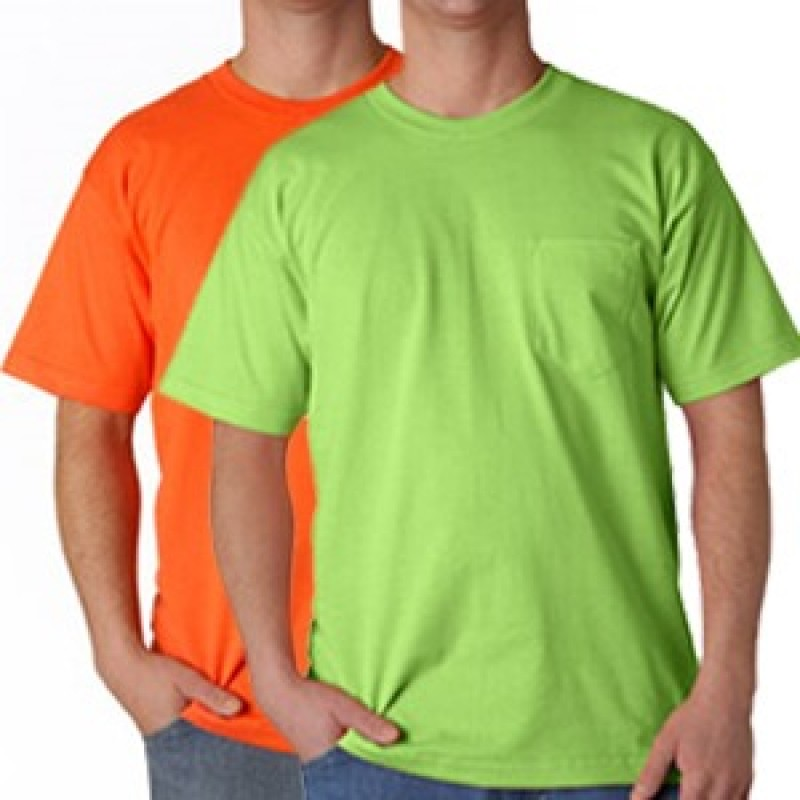 Bayco Safety T-Shirts with Pocket - 100% Cotton