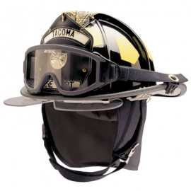 Bullard Traditional Fiberglass Fire Helmet with wraparound ESS IZ3 goggle, bourke eyeshield and 5in Brass Eagle