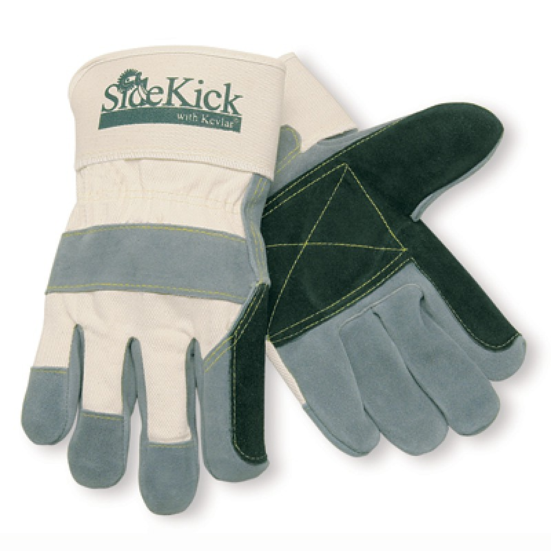MCR Side Kick Double Palm Leather Extreme Duty Work Gloves White Color 12 Pairs