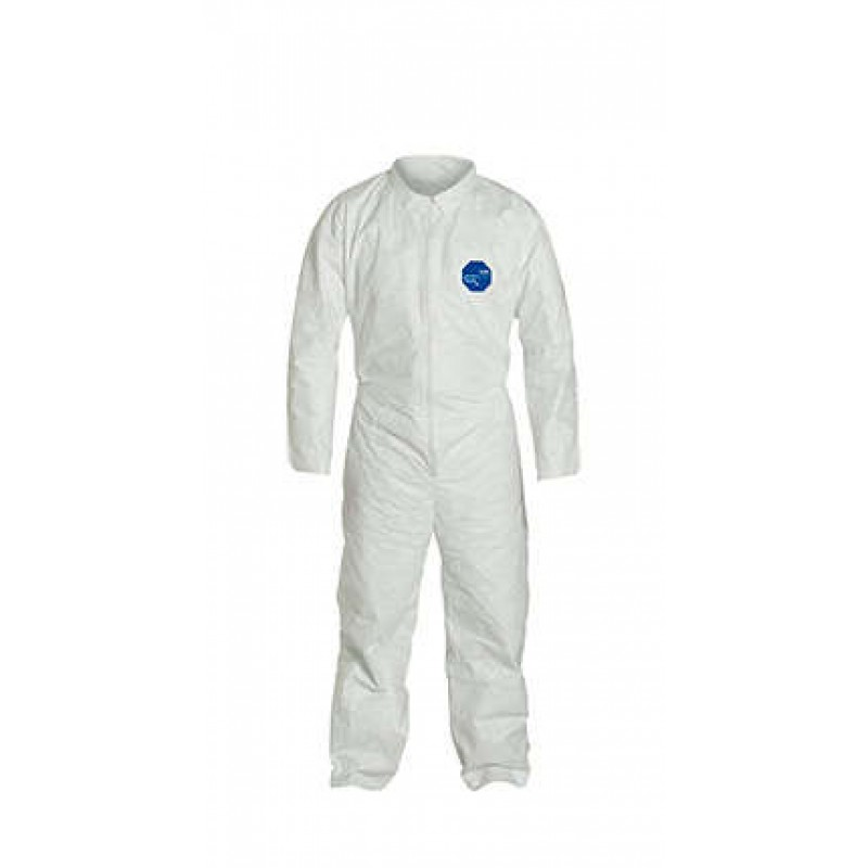 DuPont™ Tyvek TY120S White Coveralls - Open Wrists and Ankles Serged Seams (1 EA)