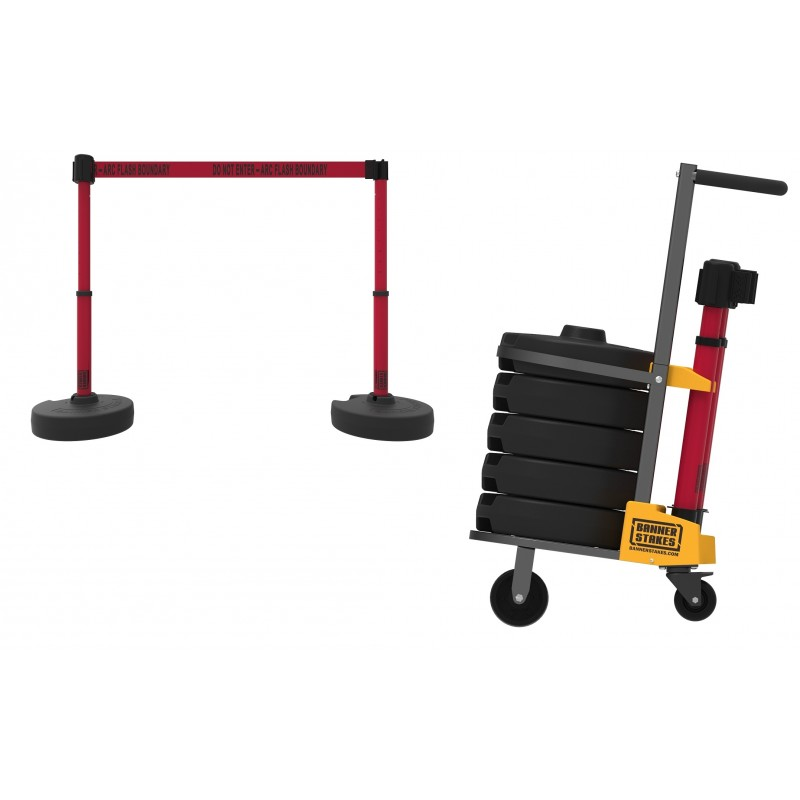 Banner Stakes PL4079 PLUS Cart Package, Red  Do Not Enter ARC Flash Boundary Banner