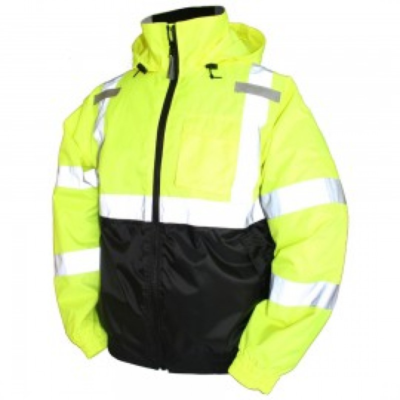 Tingley J26112 Bomber II Jacket Fluorescent Yellow Attached Hood