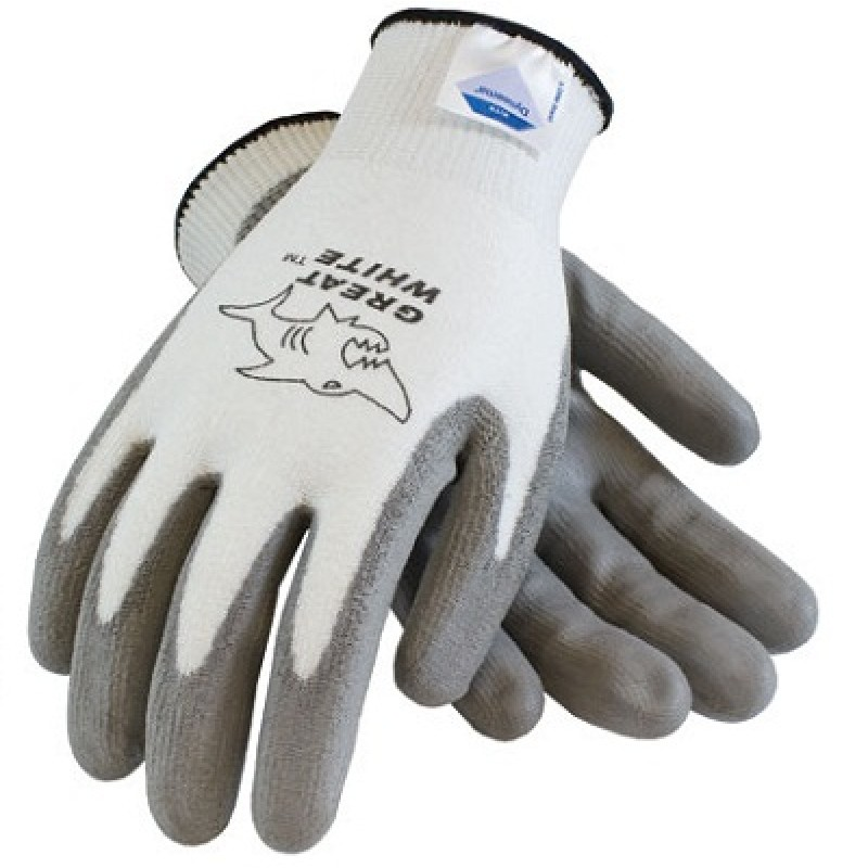 PIP Great White Polyurethane Coated Dyneema Gloves White Color 1 Pair