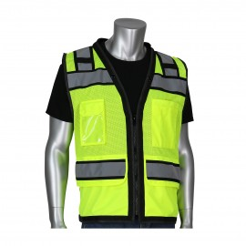 PIP ANSI Type R Class 2 Black Two Tone Eleven Pockets Tech_Ready Mesh Surveyors Vest Yellow  1 EA