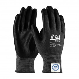 PIP 19-D526B/S G-Tek Seamless Knit Dyneema Diamond Blended Glove with Polyurethane Coated Smooth Grip on Palm & Fingers Touchscreen Compatible Small 6 DZ