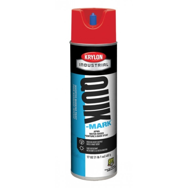 Krylon QUIK MARK Water based Inverted Marking Paints 17 oz. Brilliant Red 12 Cans