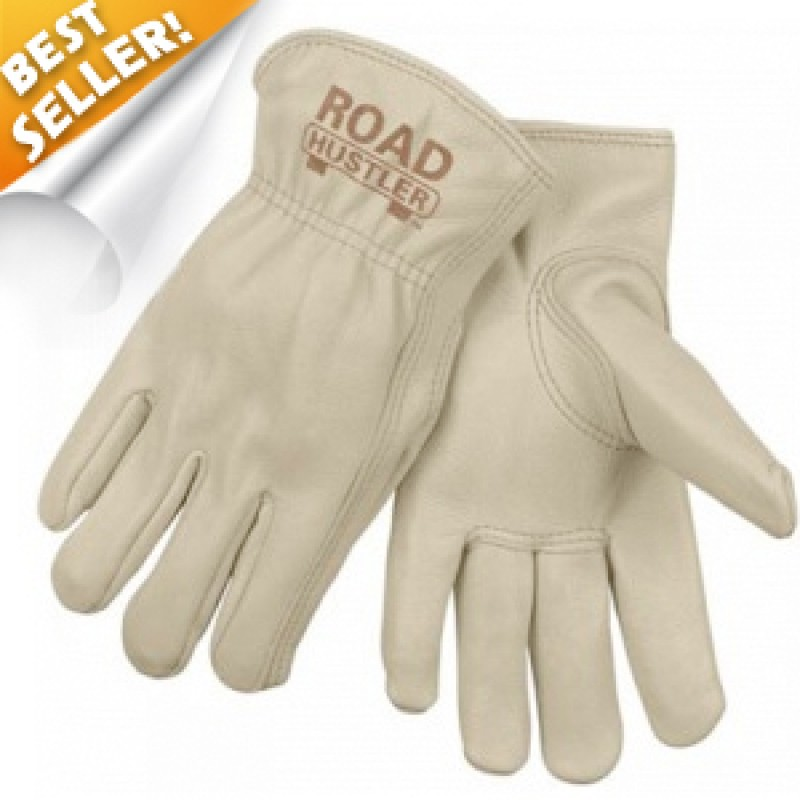 MCR Road Hustler Premium Grain Leather Drivers Gloves Tan Color - 12 Pair