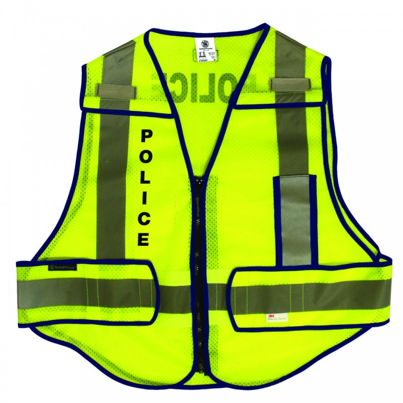 Smith & Wesson Zip-N-Rip ANSI Safety Vest - POLICE logo