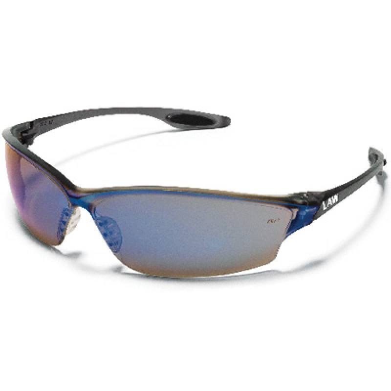 MCR Law2 Safety Glasses with Blue Mirror Lens (12 PR)