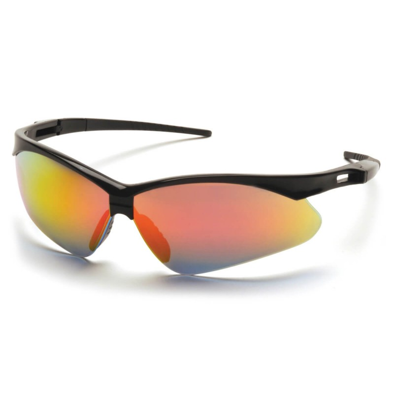 Pyramex Safety - PMXTREME - Black Frame/Ice Orange Mirror Lens with Black Cord Polycarbonate Safety Glasses - 12 / BX