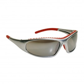 PIP Bouton FlashFire Full Frame Safety Glasses  Silver / Red Frame Red Mirror Lens and Anti Scratch / Anti Fog Coating 1/Case