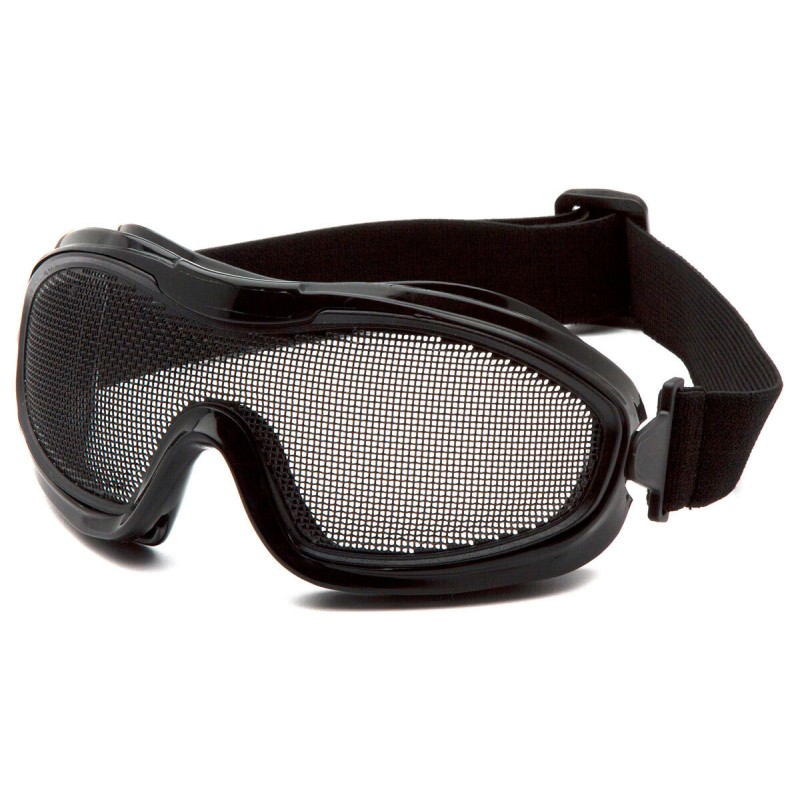 Pyramex Safety - Wire Mesh Goggle - Black goggle with single wire mesh lens Polycarbonate Safety Glasses - 12 / BX