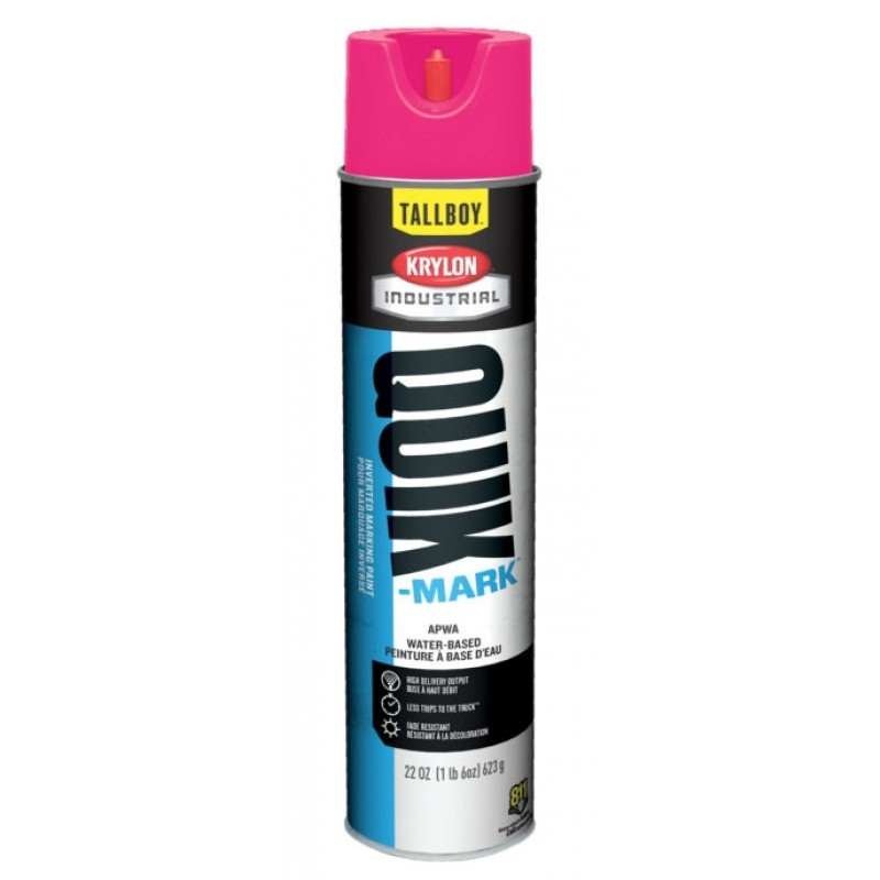 Krylon QUIK MARK TallBoy Water based Inverted Marking Paints 12 Cans Fluorescent Pink