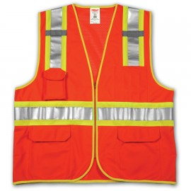 Tingley V73859.S-M Class 2 Surveyor Style Vest Fluorescent Orange-Red Polyester Solid Front, Mesh Back Zipper