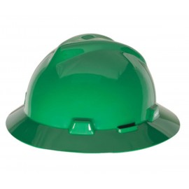 MSA Green V Gard Polyethylene Slotted Full Brim Hard Hat  Fas Trac Ratchet Suspension (1 EA)