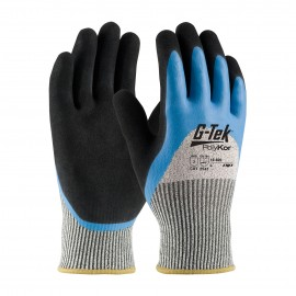 G-Tek CR Seamless Knit HPPE / Glass Glove with Acrylic Lining and Double-Dipped Latex Coated Micro-Surface Grip on Palm, Fingers & Knuckles