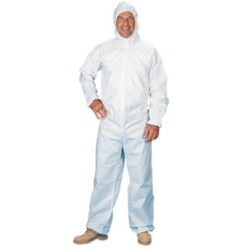 Lakeland E8428 SafeGard Coverall with Hood and Elastic Wrists and Ankles White Color 25/Case