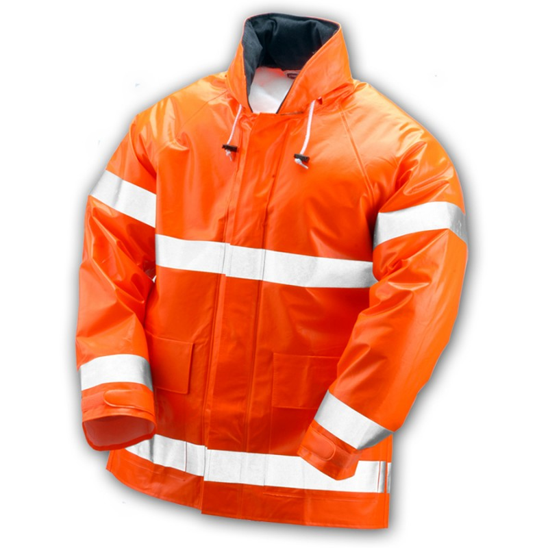 Tingley J42129.2X Electra Jacket Fluorescent Orange-Red Attached Hood Silver Reflective Tape