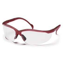 Pyramex Safety - Venture II - Maroon Frame/Clear Lens Polycarbonate Safety Glasses - 12 / BX