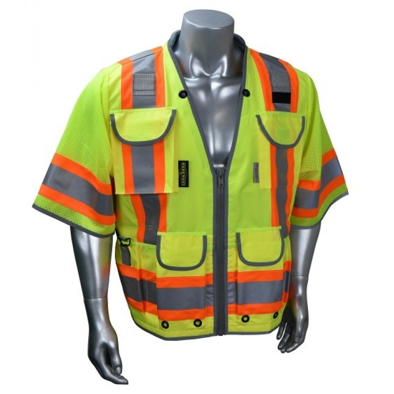 Radians SV55-3 Safety Vest - Class 3 - Two Tone Surveyor - Heavy Duty Solid Front Mesh Back 3XL Green  (1 EA)