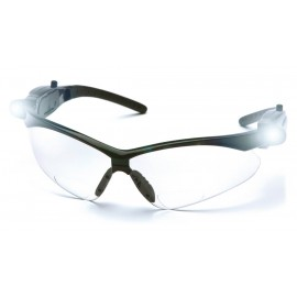 Pyramex Safety - PMXTREME Readers - Black Frame/Clear Anti-Fog +1.5 Lens with LED Temples Polycarbonate Safety Glasses - 6 / BX