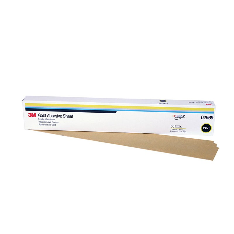 3M™ Gold Abrasive Sheet, 02569, P150 grade, 2 3/4 in x 17 1/2 in, 50 sheets per sleeve, 5 sleeves per case