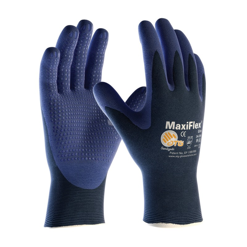 PIP 34-244/XS ATG Ultra Light Weight Seamless Knit Nylon Glove with Nitrile Coated MicroFoam Grip on Palm & Fingers Micro Dot Palm XS 12 DZ