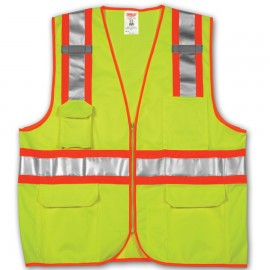 Tingley V73852.4X-5X Class 2 Surveyor Style Vest Fluorescent Yellow-Green Polyester Solid Front, Mesh Back Zipper