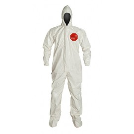 DuPont™ Tychem® 4000 SL122B WH  Standard Fit Hood. Elastic Wrists. Attached Socks 12/Case