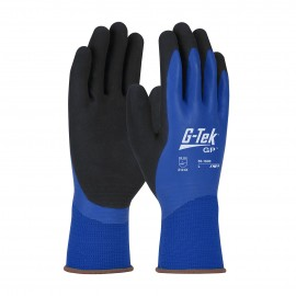 PIP 55-1600/S G-Tek Waterproof Seamless Knit Polyester Glove with Double Dipped Latex Coated MicroSurface Grip on Palm, Fingers & Knuckles Small 6 DZ