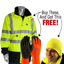 Buy PIP 7 in 1 Yellow Jacket and 1 Pair PowerGrab Thermo Gloves Get FREE Insulated Yellow Beanie!