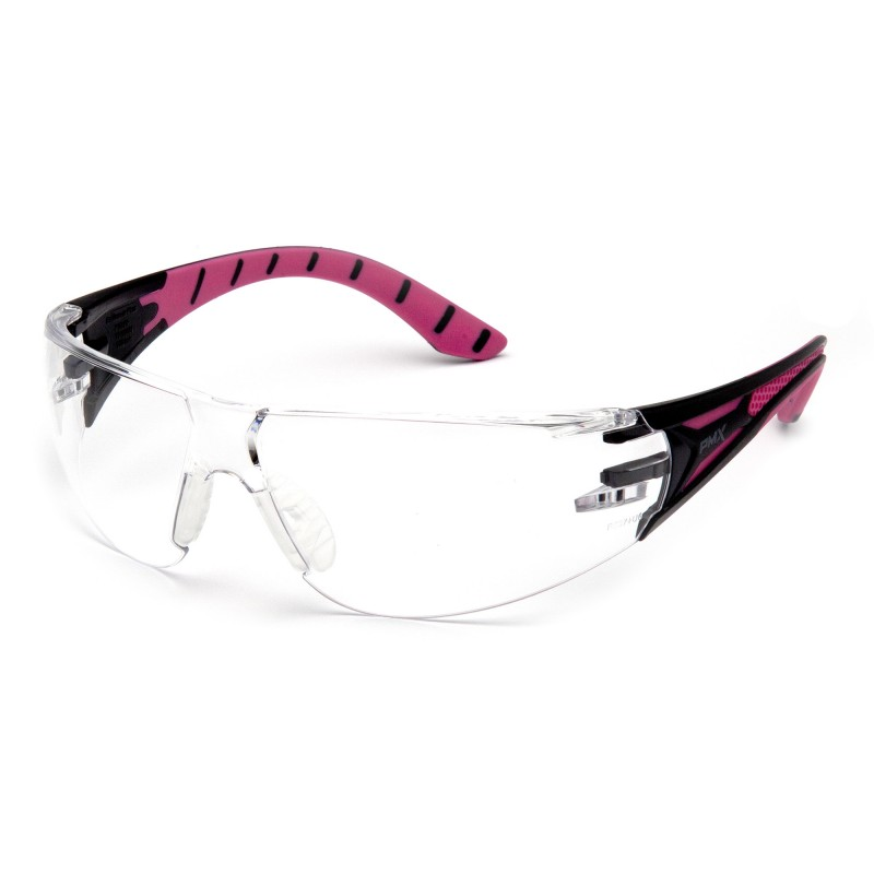Pyramex Endeavor Plus Safety Glasses Clear Lens Pink Frame - 12 per Box