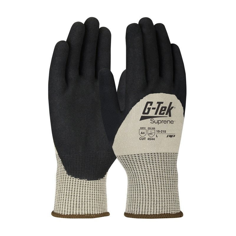PIP 15-215/M G-Tek Seamless Knit Suprene Blended Glove with Nitrile Coated MicroSurface Grip on Palm, Fingers & Knuckles Medium 6 DZ